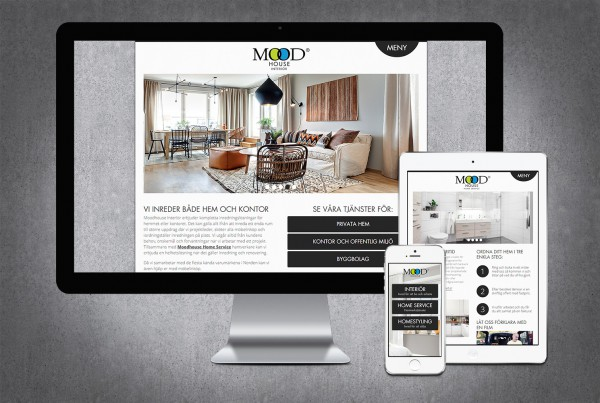 Hemsida för Moodhouse, designad av Peter Berglund, Bullit Reklambyrå