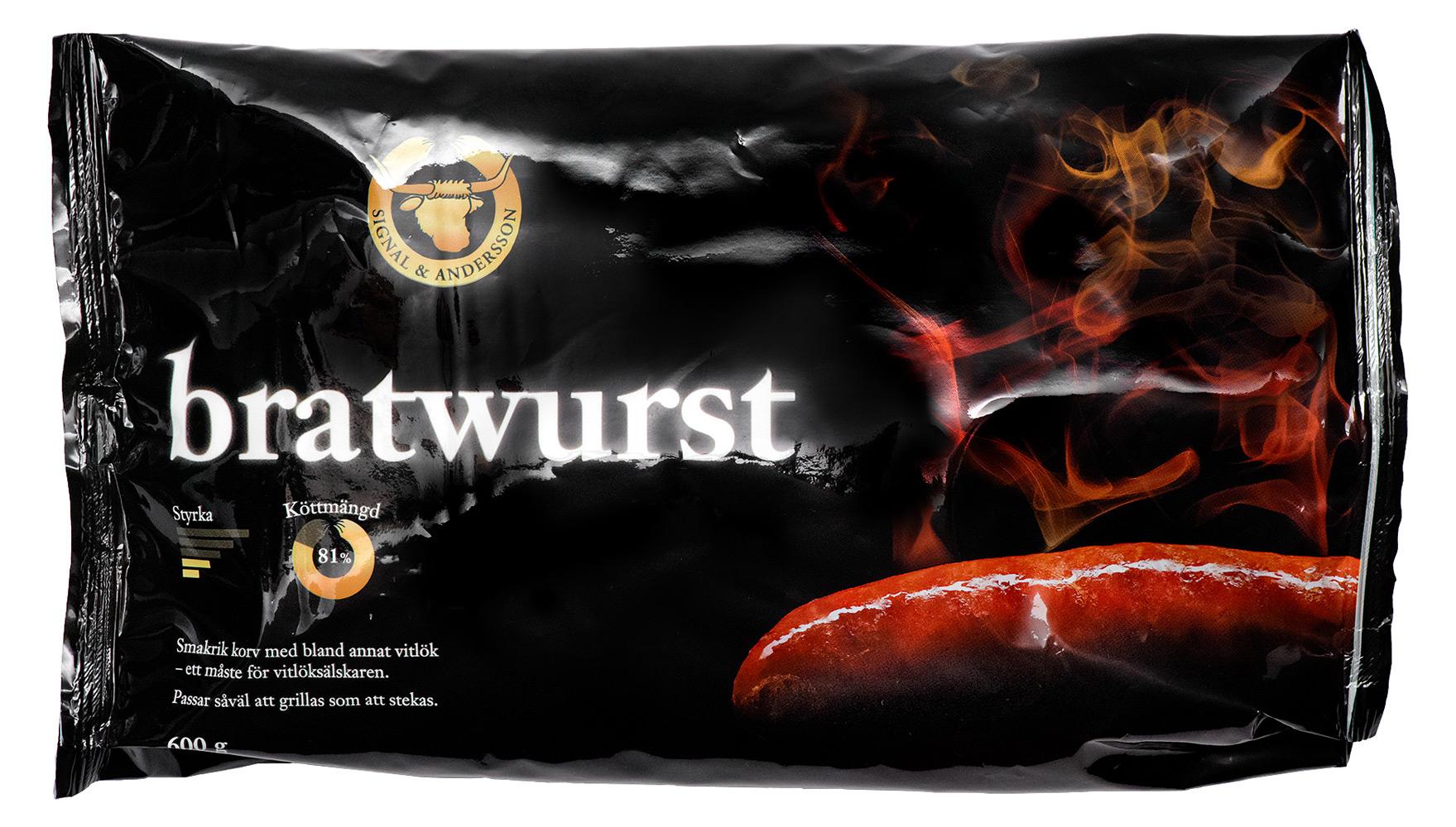 Förpackning bratwurst - Design av Peter Berglund, Bullit Reklambyrå