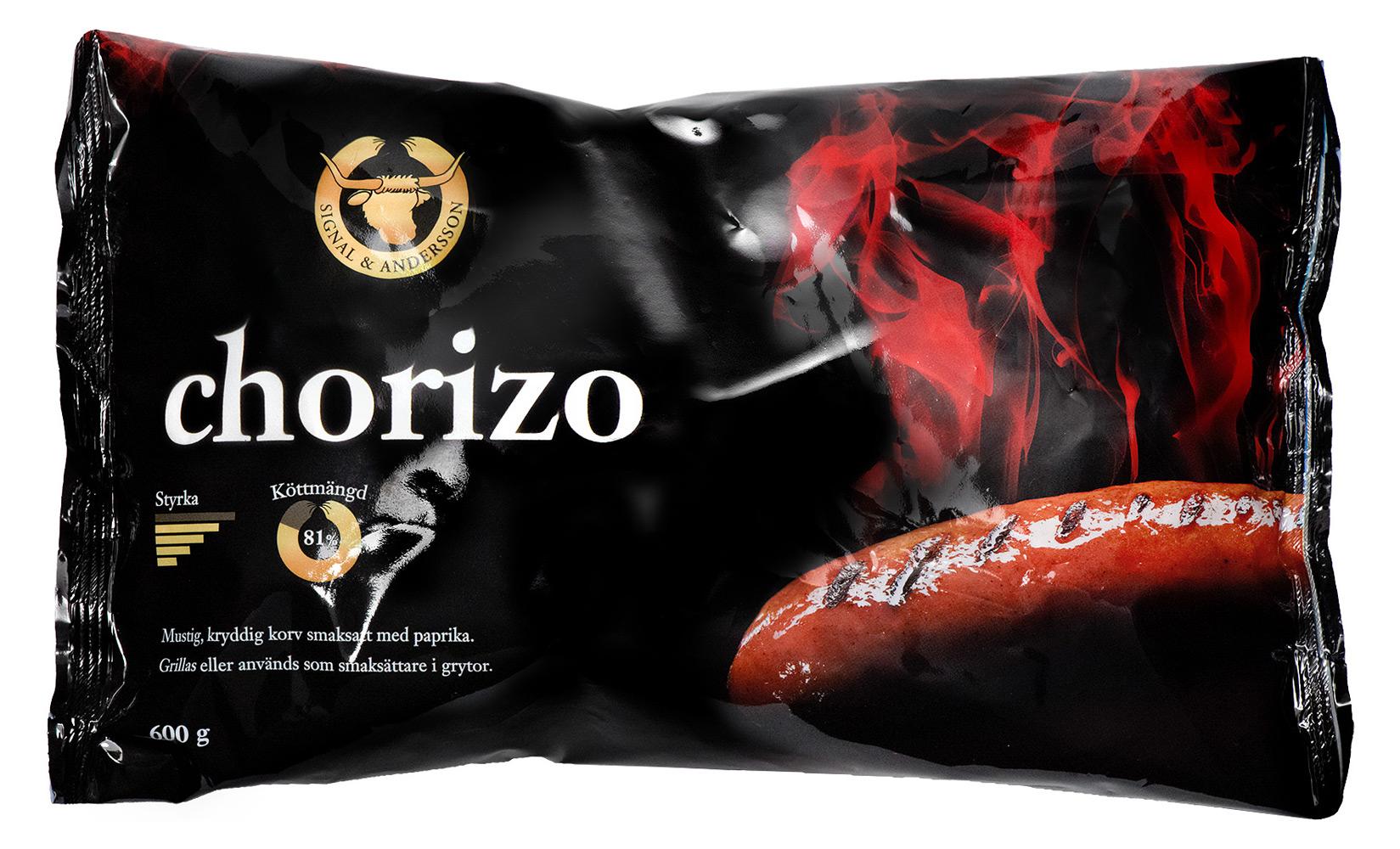 Förpackning chorizo - Design av Peter Berglund, Bullit Reklambyrå