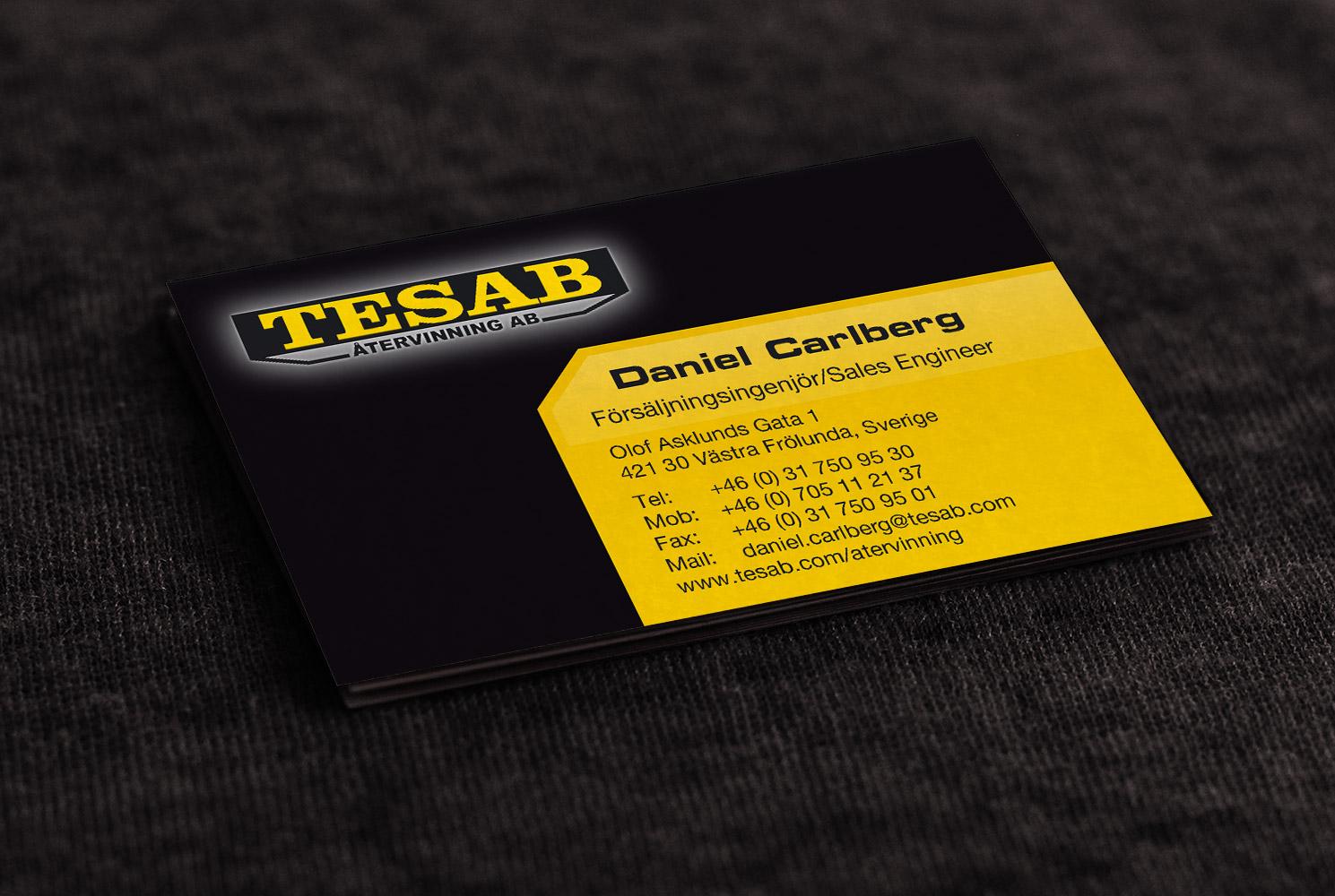 Visitkort för Tesab Återvinning, designat av Peter Berglund, Bullit Reklambyrå