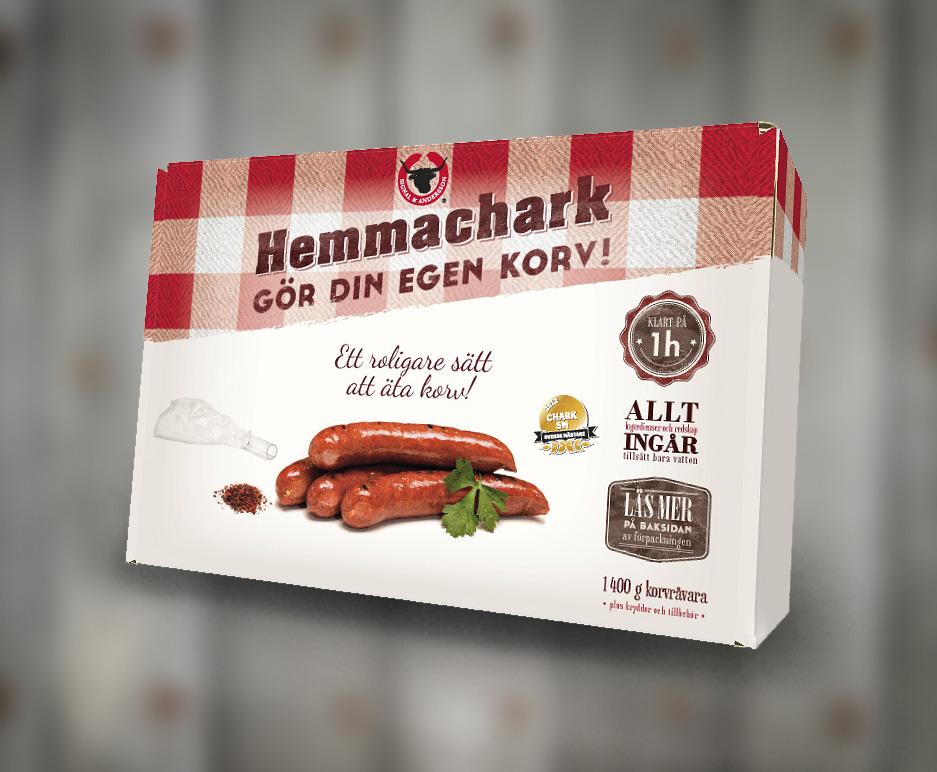 Förpackning för Hemmachark, designad av Peter Berglund, Bullit Reklambyrå
